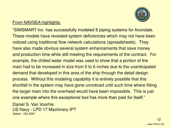 From NAVSEA highlights: