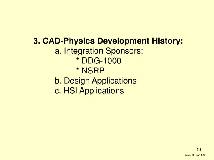 3. CAD-Physics Development History: