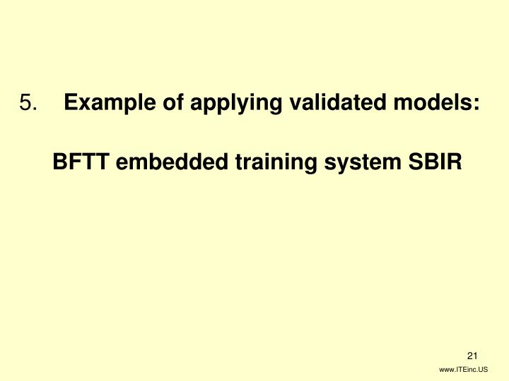 Example of applying validated models: