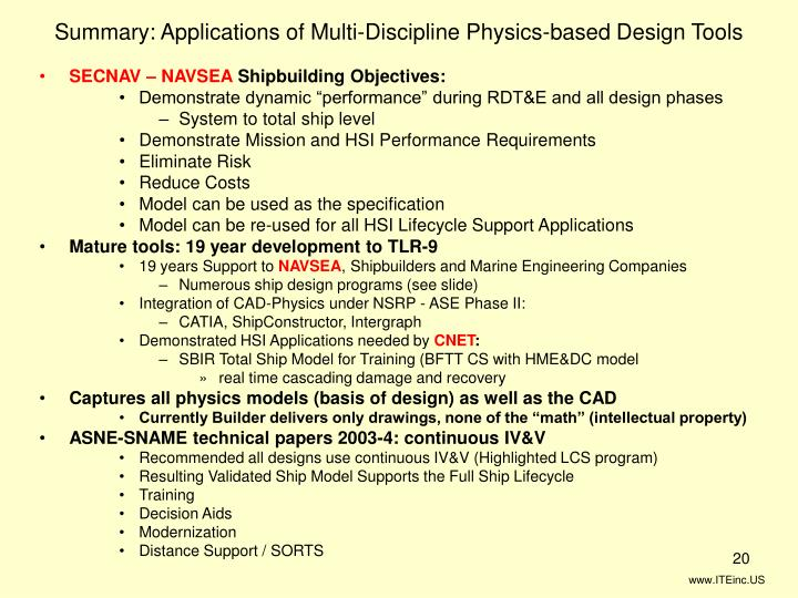 Summary: Applications of Multi-Discipline Physics-based Design Tools