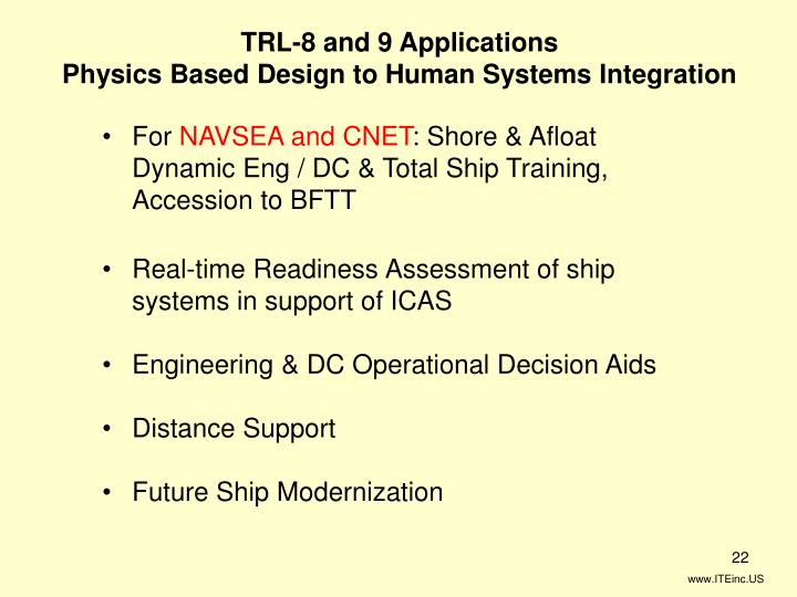 TRL-8 and 9 Applications