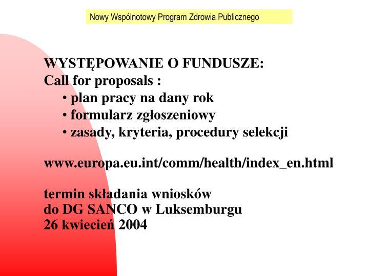 Nowy Wspólnotowy Program Zdrowia Publicznego