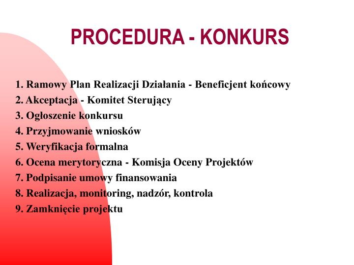 PROCEDURA - KONKURS
