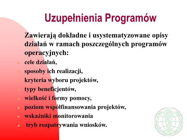 Uzupełnienia Programów