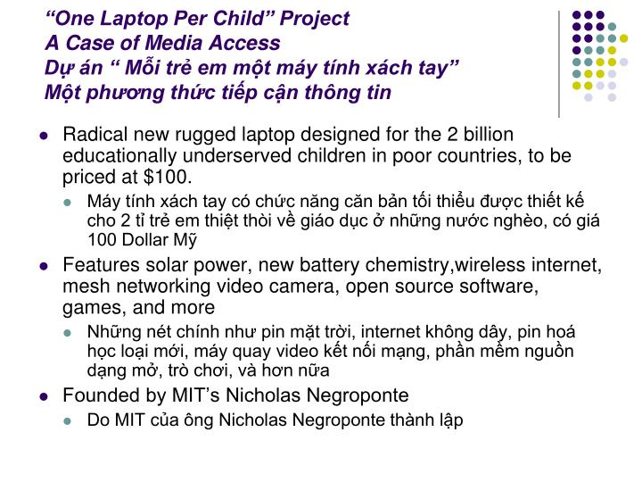 """One Laptop Per Child"" Project"