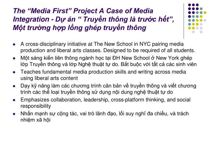 """The """"Media First"""" Project A Case of Media Integration - Dự án """" Truyền thông là trước hết"""", Một trường hợp lồng ghép truyền thông"""