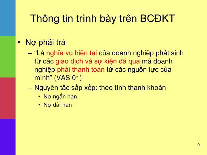 Thông tin trình bày trên BCĐKT