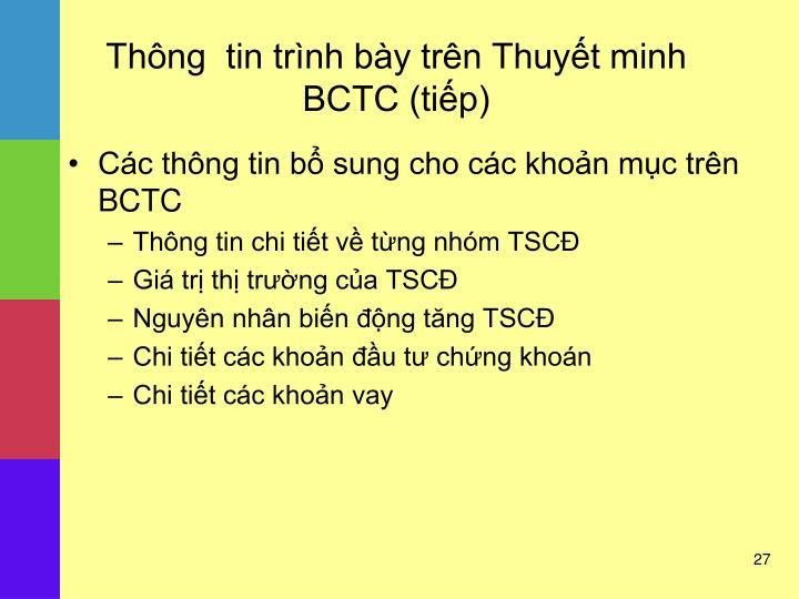 Thông  tin trình bày trên Thuyết minh BCTC (tiếp)