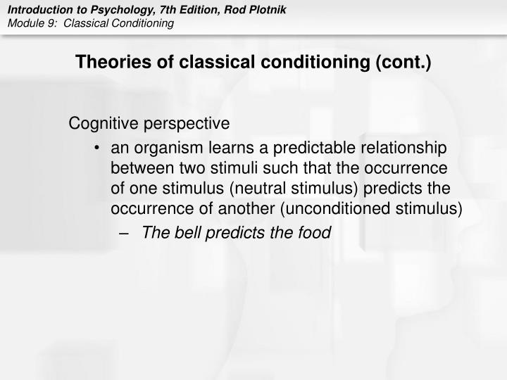 Theories of classical conditioning (cont.)