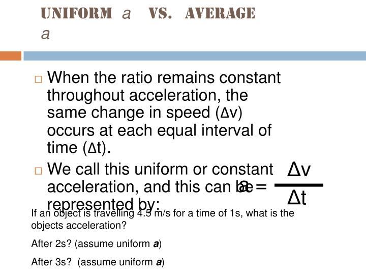 Uniform a vs average a