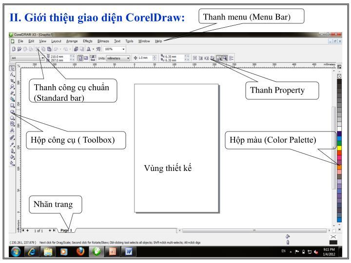 II. Giới thiệu giao diện CorelDraw:
