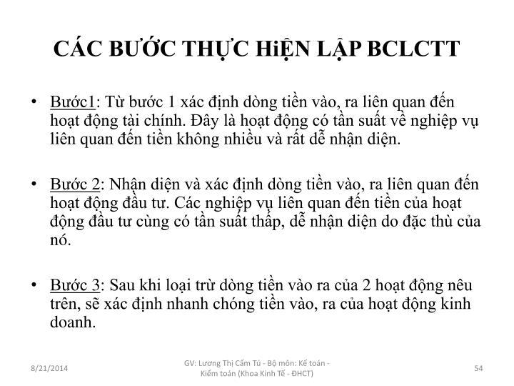 CÁC BƯỚC THỰC HiỆN LẬP BCLCTT