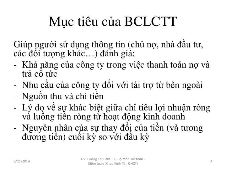 Mục tiêu của BCLCTT