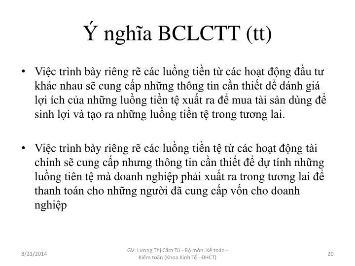 Ý nghĩa BCLCTT (tt)