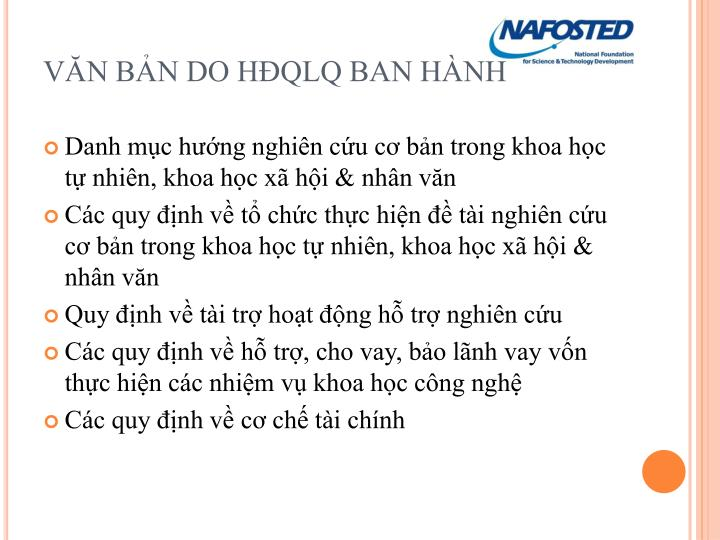 VĂN BẢN DO HĐQLQ BAN HÀNH
