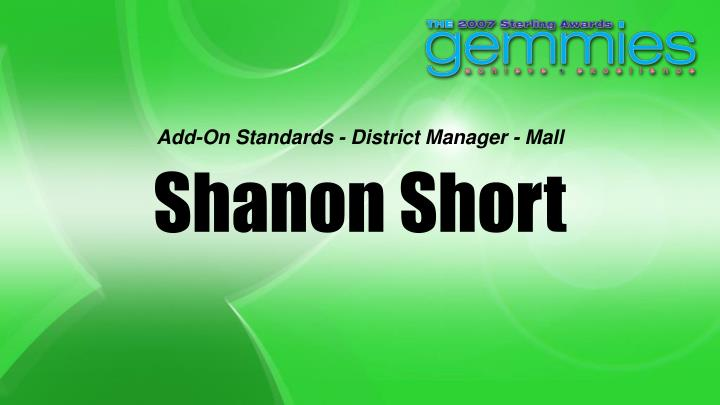 Add-On Standards - District Manager - Mall