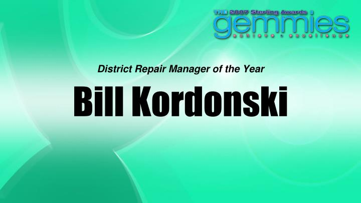 District Repair Manager of the Year