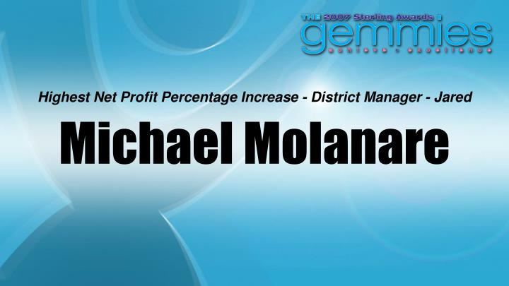Highest Net Profit Percentage Increase - District Manager - Jared