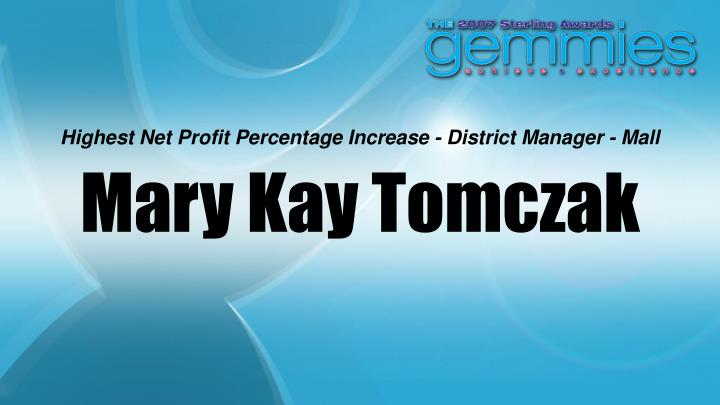 Highest Net Profit Percentage Increase - District Manager - Mall