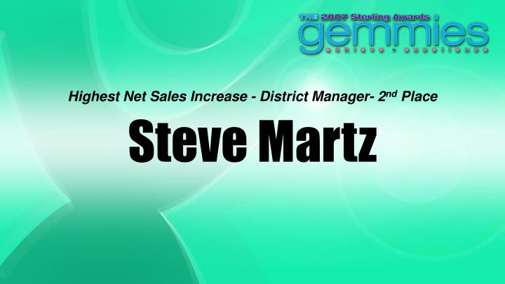 Highest Net Sales Increase - District Manager- 2