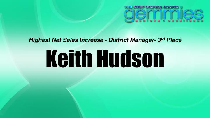 Highest Net Sales Increase - District Manager- 3