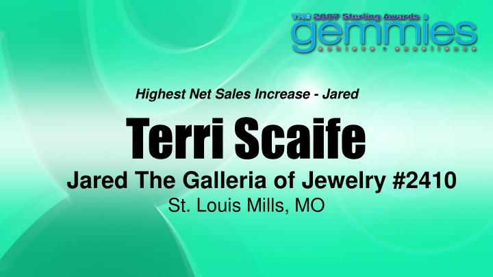 Highest Net Sales Increase - Jared