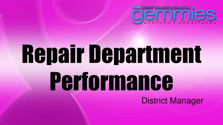 Repair Department Performance