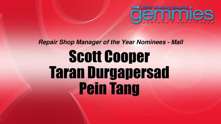 Repair Shop Manager of the Year Nominees - Mall