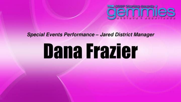 Special Events Performance – Jared District Manager