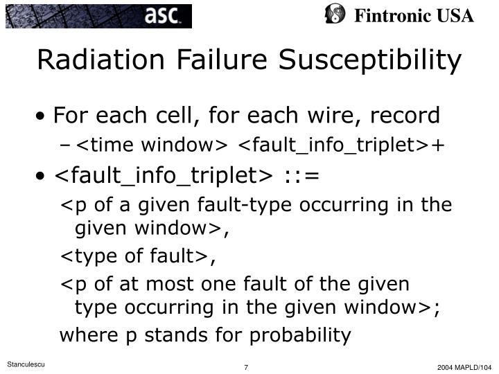 Radiation Failure Susceptibility