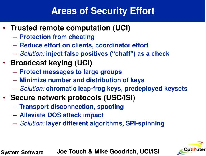 Areas of Security Effort