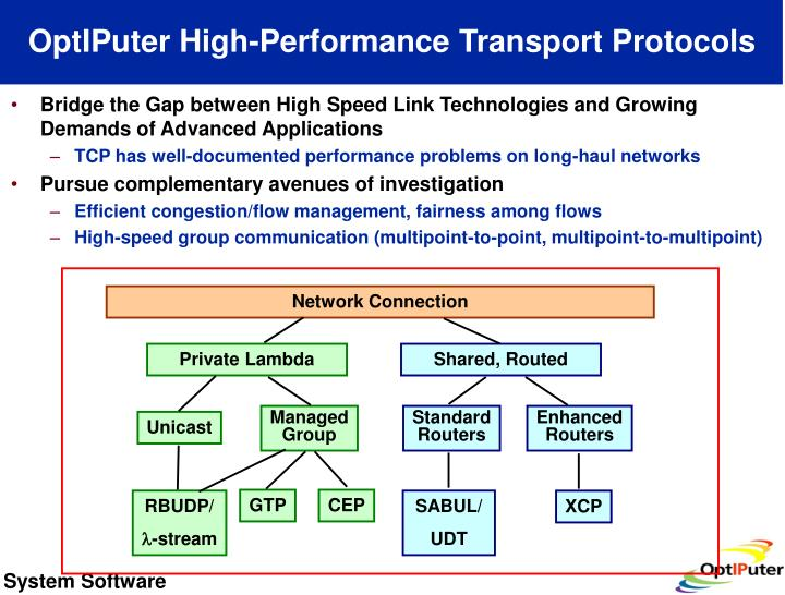 OptIPuter High-Performance Transport Protocols