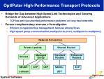 optiputer high performance transport protocols