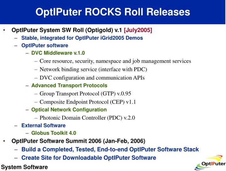 OptIPuter ROCKS Roll Releases