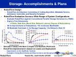 storage accomplishments plans