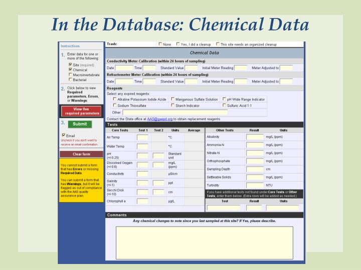 In the Database: Chemical Data