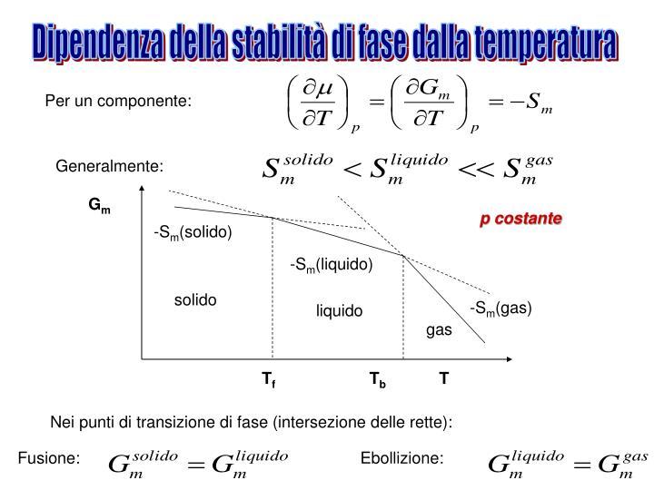 Dipendenza della stabilità di fase dalla temperatura