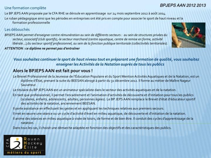 BPJEPS AAN 2012 2013