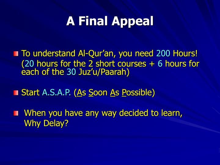A Final Appeal