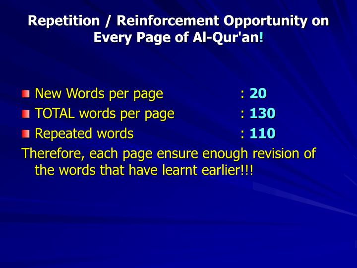 Repetition / Reinforcement Opportunity on Every Page of Al-Qur'an