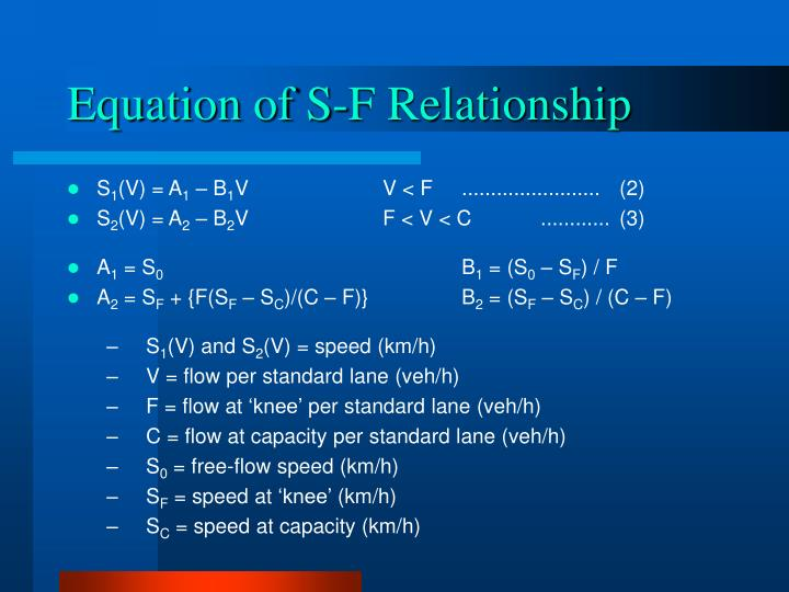 Equation of S-F Relationship