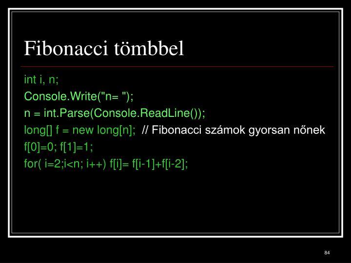 Fibonacci tömbbel