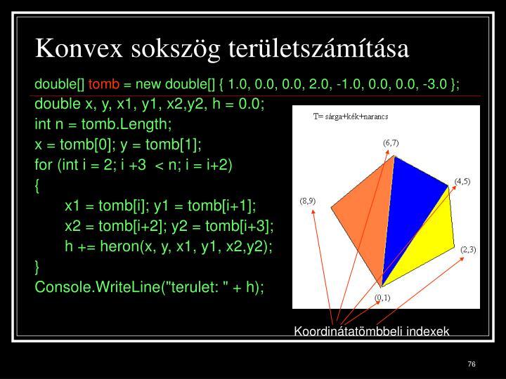 Konvex sokszög területszámítása