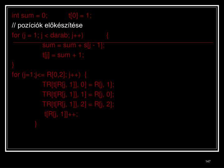 int sum = 0;           t[0] = 1;