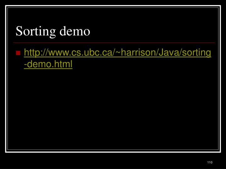 Sorting demo