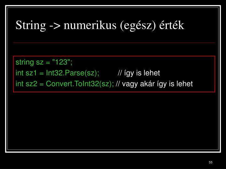 String -> numerikus (egész) érték