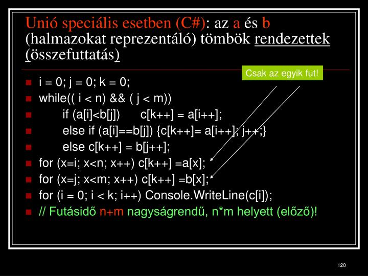 Unió speciális esetben (C#)