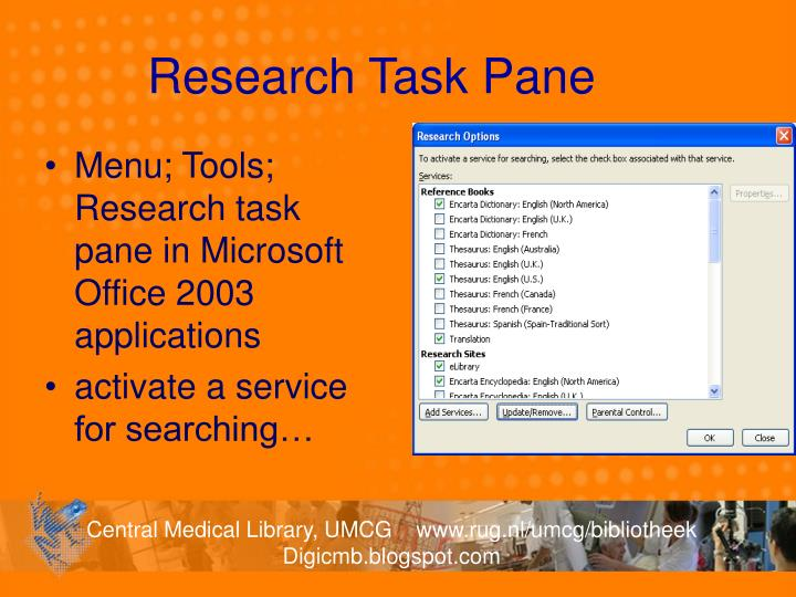 Research Task Pane