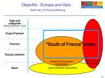 objectifs europe and asia summary of the positioning
