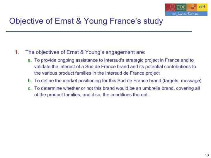 Objective of Ernst & Young France's study